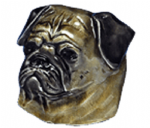Pug Dog Belt Buckle with display stand. Product code WH1